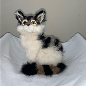 Rabbit Fur Cat Figure Big Eyes Life Like Vintage